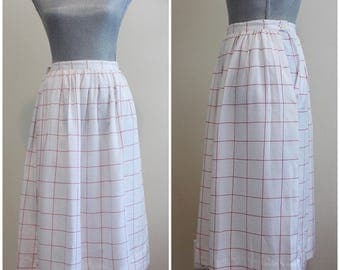 Hopscotch Skirt | vintage 80s white and red grid-patterned midi skirt