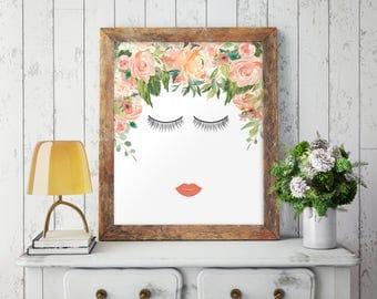Eyelash Print, Eyelash Wall Art, Fashion Print, Eyelashes Poster, Glam Prints, Glam Decor, Glam Art, Girl Nursery Wall Art, Printable, 1091