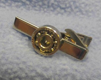 Interesting Silver Ball Bearing Tie Clip Clasp