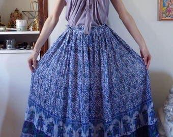 vintage indian skirt India gauze free size elephants flowers block print