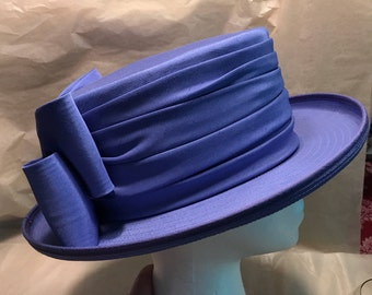 Ladies Hat Dressy Fedora Ruched Hatband Bow Lavendar Periwinkle Blue Violet Kentucky Derby Topper Chapeau Made in England