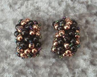 Vintage Black & Gold Beaded Half Hoop Earrings