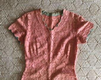 1930s bias-cut lace day dress; pink Deco day dress