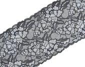 Stretch Lace gray color, gray lace, lingerie lace, wide lace, elastic lingerie lace gray color, width 6.88 inch lace, 17.5 cm lace, # 2328