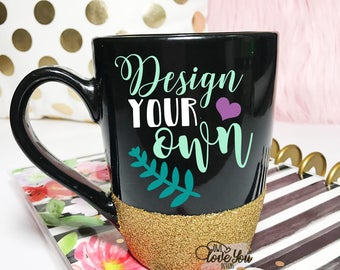 custom 14 oz black glitter mug glitter mug custom coffee mug coffee