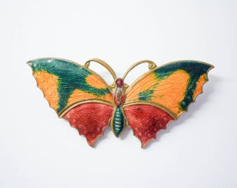 1930s Tricolour Butterfly Brooch, guilloche enamelled
