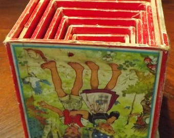 9 Vintage Antique Nesting Wooden Child's Stacking Boxes  Block, Paper Lithographs Toy
