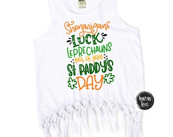 St. Paddy's Day Fringe Tanks and Dresses - Girls' St. Patricks Day Shirts - St. Patty's Day - Holiday Tank Tops - Leprechauns and Shamrocks