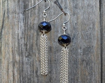 Black Crystal with Silver Tassel Earrings (E53)
