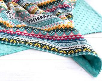 Minky Baby Blanket - Extra Large - Baby Girl Blanket - Turquoise Blanket - Aztec - Plush Stroller Blanket - Playmat- Swaddle - New Baby Gift
