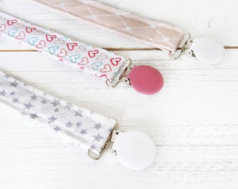 Pacifier Clip -  Dummy Chain - Dummy Clip - Toy Clip - Fabric Dummy Holder - Soother Clip- Baby Girl Essential - New Baby Must Have - UK