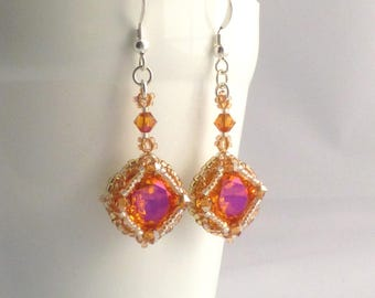 Crystal Sunset Vintage Style Earrings, Swarovski Astral Pink, Orange and Pink Jewellery, Bright Sparkly Earrings
