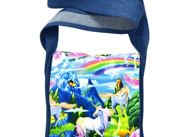 Unicorn Denim Handbag. Messenger style shoulder bag. Perfect gift idea for Mothers Day, Birthdays or for everyday use for lovers of Fantasy.