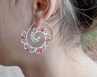 Hoop earrings, Silver hoop earrings, Tribal earrings, Ruby earrings, Tribal hoop earrings, Boho hoop earrings, Bohemian earrings (E578)