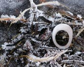 White Quartz Statement Ring - Minimalist Beach Stone Jewelry - Organic Pebble Shape - Chunky Dome Ring - Baltic Sea Zen