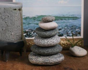 Beach Stone Cairn - Stress Relief Gift - Relaxation - Wabi-Sabi - Zen Balance - Granite Pebbles - Baltic Sea