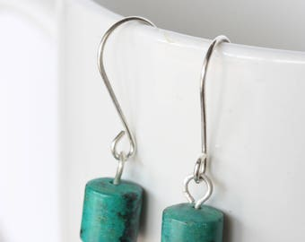 Turquoise and Sterling Silver Dangle Earrings, African Turquoise Earrings, Silver Earrings, Simple Silver Earrings,Modern Turquoise Earrings