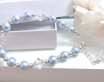 Swarovski Light Blue Pearl Bracelet, Jewellery, Pearl Bracelet, Gift for her, Elegant Bracelet, Blue Bracelet, Beaded Bracelet, Bracelet