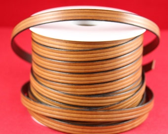 "MADE in EUROPE 24"" flat leather cord, 10mm leather cord, brown embossed leather cord (497/10/33)"