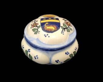 small vintage french Rouen Desvres ceramic box, trinket box, jewelry box