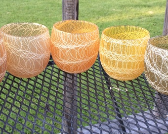 Vintage 1960's MCM Color Craft Rubber Spaghetti String Roly Poly Drinking Glasses Set of 7 Various Colors