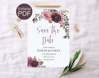 Burgundy Save the Date Template, Marsala Invitation Template, DIY Save the Date, Marsala Invitation Template DIY  Floral Save the Date Card
