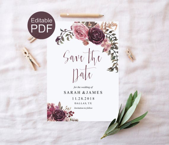 Burgundy Save the Date Template DIY Save the Date Cards Boho Save