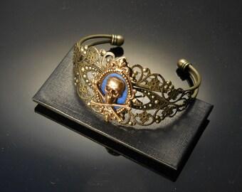 Skull Bracelet | Skull Cuff | Day of the Dead Jewelry | Skull Jewelry | Goth Jewelry | Blue Skull Bracelet | Blue Jewelry | Metal Skull Cuff