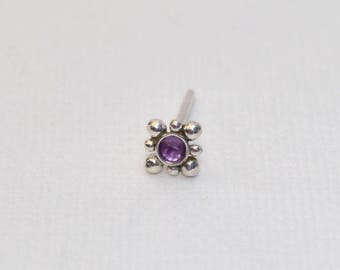 2mm Amethyst Tragus Stud Earring 20g, Silver nose stud, Tragus piercing, Cartilage earring, Helix stud, Cartilage stud, Nose ring