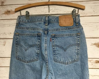 90's Women's Levi's 512 Slim fit Original Tapered Leg jeans Vintage denim jeans Light wash high waisted hip hop hipster - 28 x 28