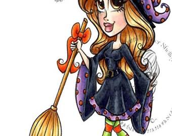 Digital Stamp, Digi stamp, Digi, Digistamp, Halloween Digi, Witch Digi, Halloween Witch Digi, Broomstick Witchy Wendy Digi