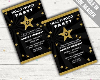 Hollywood Invitations (Movie Party Invitations). Editable PDF. Printable. Instant Download.
