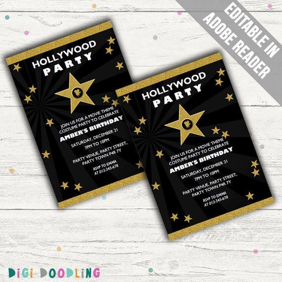 Hollywood Invitations Movie Party Invitations. Editable PDF