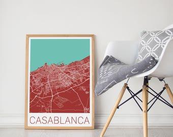 Casablanca / Casablanca Map /Casablanca Morocco Poster/ Casablanca Print/ Casablanca Art/ Morocco Poster/ Casablanca / Casablanca