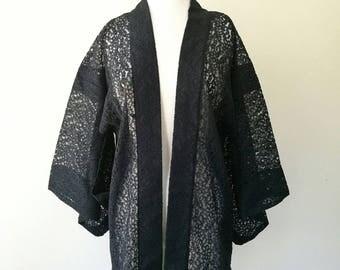 Vintage Japanese black lace hand made kimono haori jacket