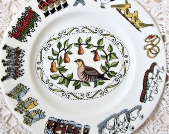 Christmas Plate. 12 Days Of Christmas Plate. Bone China Plate. Made In England. Partridge In A Pear Tree. Decorative Xmas Plate.