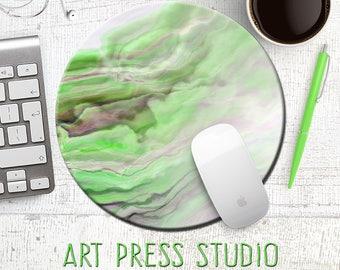 Green Marble Mouse Pad, Green Stone Mousepad, Abstract Mouse Pad, Smoke Mousepad, Boho Accessory, Desk Decor, Office Decor