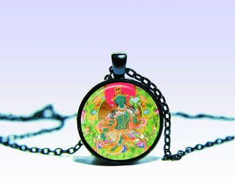 Green tara pendant etsy green tara amulet om necklaceamulet charm pendant for him or her mozeypictures Images