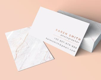 Marble Rose Gold Business Card, Printable Business Card, Customizable Business Card, Stationery Design