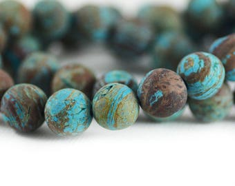 Blue Casilica Jasper Turquoise Blue Sky Brown Matte Round Gemstone Beads 10mm