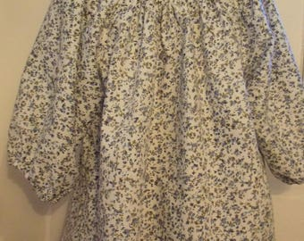 Small, ditsy print with blue flowers in a peasant style girls blouse, Age 10
