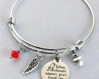 Cardinal Remembrance Bracelet, When Cardinals Appear Your Loved Ones Are Near, Sympathy Gift, Memorial Jewelry, Cardinal Symbol