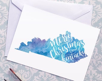 Kentucky Map Christmas Card, Kentucky Watercolor Greeting Card, Merry Christmas from Kentucky Lettering, Gift, Postcard, Map Art Card, Print