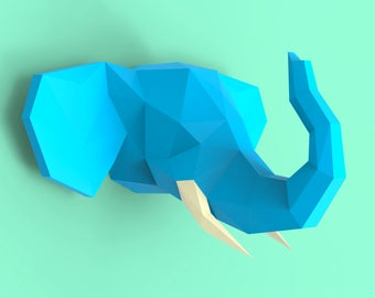 Elephant Head 3 Papercraft PDF Pack - 3D Paper Sculpture Template with Instructions - DIY Wall Decoration - Animal Trophy
