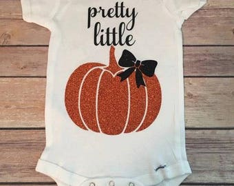 Pretty Little Pumpkin - Fall Baby Bodysuit - Glitter Pumpkin