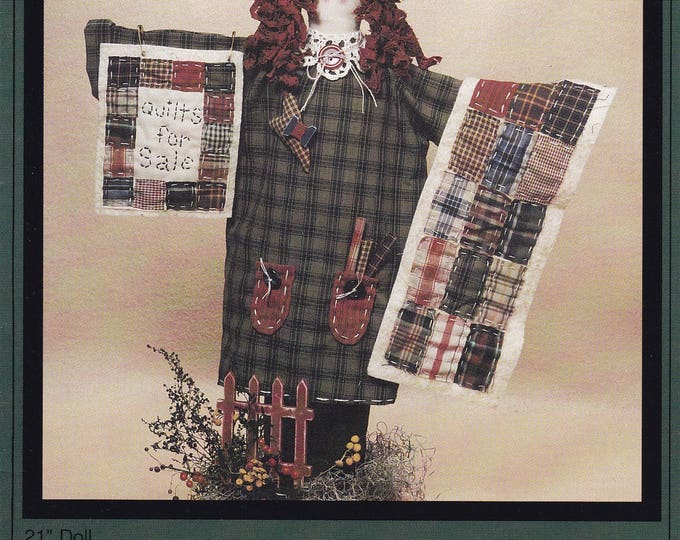 FREE US SHIP Cotton Way Craft Sewing Pattern  New 1996 Quilts for Sale 21 Doll Raggedy Bonnie S Olaveson Uncut Folk Art