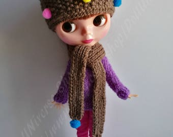 Handknitted HAT+ SCARF for Blythe dolls