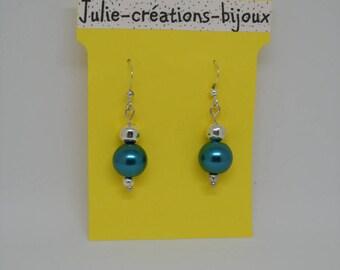 Peacock Blue Pearl Earrings