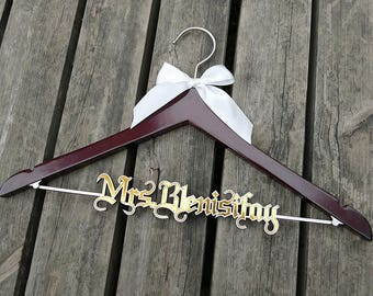 Bridal Shower Gift, Custom Bridal Hanger,  Wedding Dress Hanger, Personalized Wedding Hanger,  Bridesmaid Dress Hanger, Shower Gift VTP0013