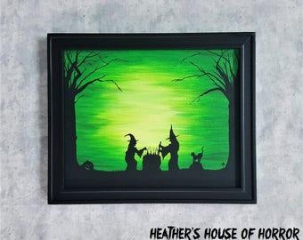 Halloween silhouette painting - Witches - Heather's House of Horror - Hocus Pocus - Jack o' Lantern - Black cat - Creepy art - Samhain